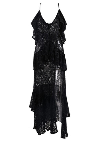 Honey Couture ANGELICA Black Lace Peplum Maxi Dress