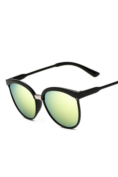 Honey Couture MAGGIE Black Frame Green Reflective Sunglasses