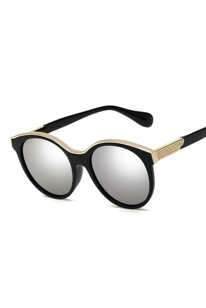 Honey Couture KRIS Black & Gold Frame Silver Reflective Sunglasses Australian Online Store One Honey Boutique AfterPay ZipPay