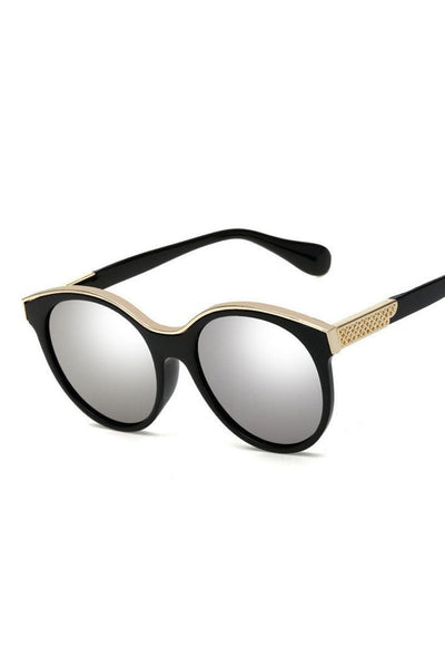 Honey Couture KRIS Black & Gold Frame Silver Reflective Sunglasses