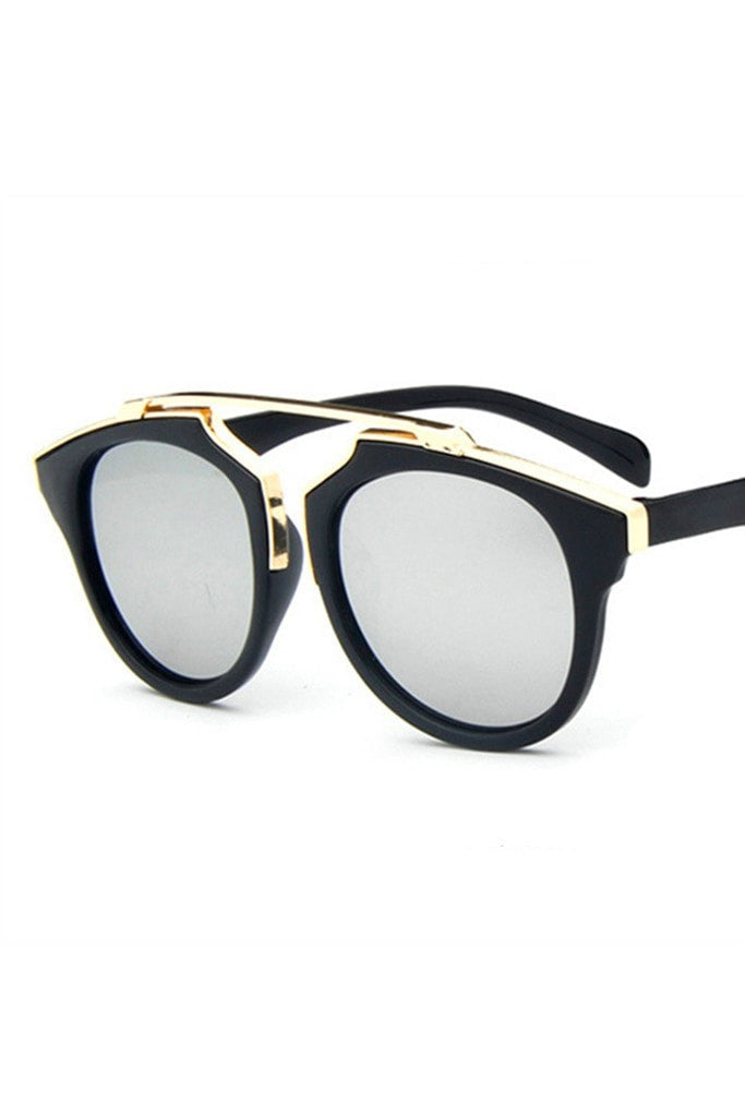 Honey Couture STACEY Gold & Black Frame Silver Reflective Sunglasses Australian Online Store One Honey Boutique AfterPay ZipPay