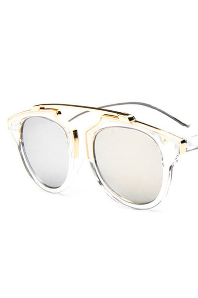 Honey Couture STACEY Gold & Clear Frame Silver Reflective Sunglasses