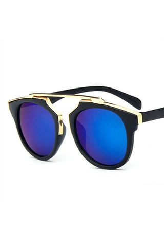 Honey Couture STACEY Gold & Black Frame Blue Reflective Sunglasses