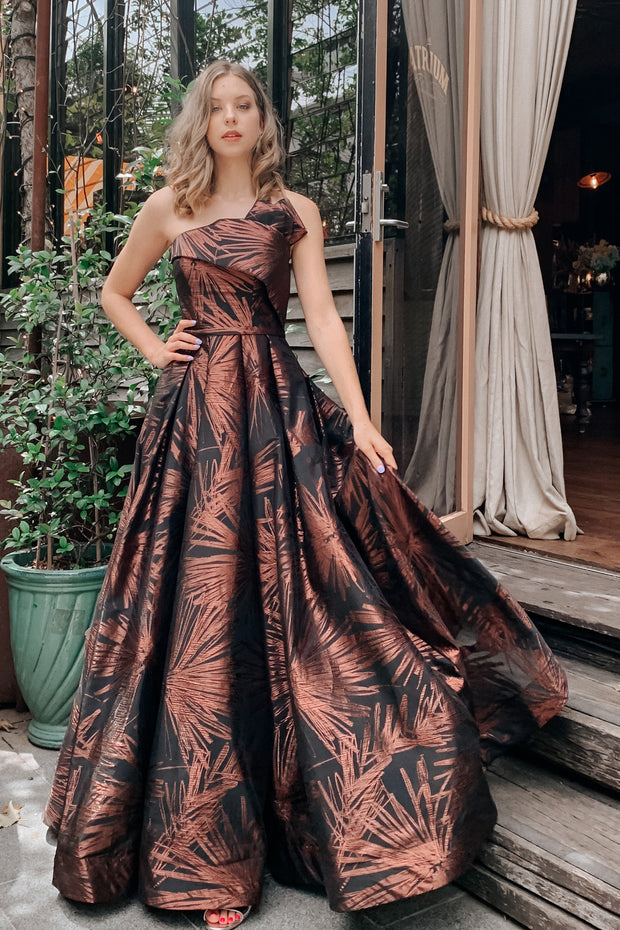 Tina Holly Couture T0520 Rose Brown Strapless Ballgown Formal Dress