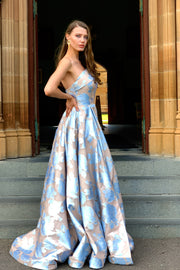 Tina Holly Couture T1020 Pastel Blue Pattern Strapless Ballgown Formal Dress