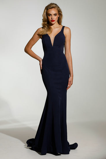 Tinaholy Couture T1708 Navy Blue Deep V Neckline w a Drape Back Formal Gown DressTinaholy CoutureOne Honey Boutique AfterPay OxiPay ZipPay