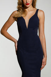 Tinaholy Couture T1708 Navy Blue Deep V Neckline w a Drape Back Formal Gown Dress Tina Holly Couture$ AfterPay Humm ZipPay LayBuy Sezzle