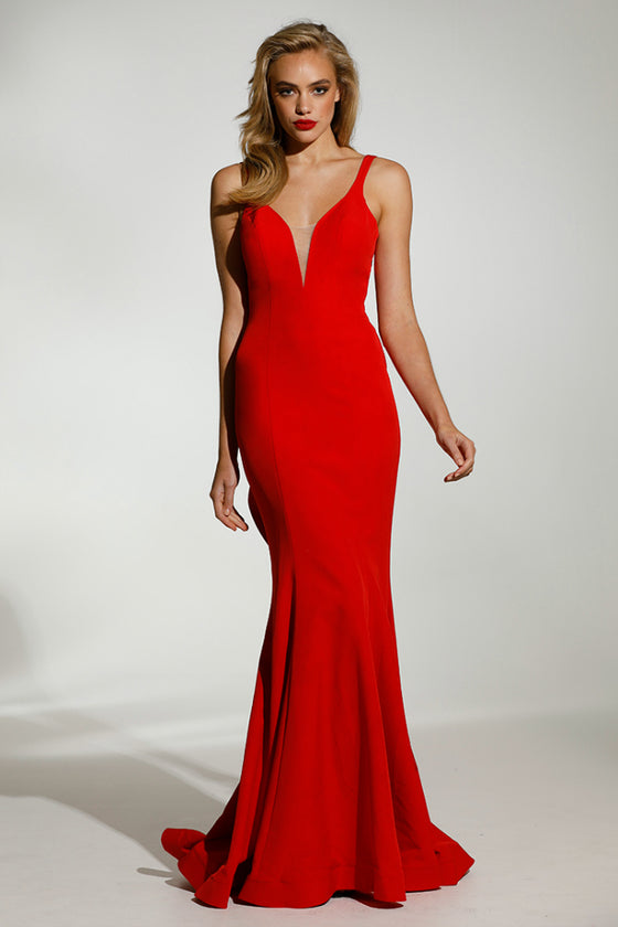 Tinaholy Couture T1708 Chili Red Deep V Neckline w a Drape Back Formal Gown DressTinaholy CoutureOne Honey Boutique AfterPay OxiPay ZipPay