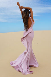 Tinaholy Couture T1708B Tea Rose Low Back Mesh Insert Crepe Gown Tina Holly Couture$ AfterPay Humm ZipPay LayBuy Sezzle