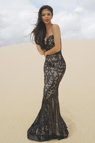 Tinaholy Couture T17101 Black Nude Sequin Thin Strap Gown Tinaholy Couture One Honey Boutique AfterPay ZipPay OxiPay Laybuy Sezzle Free Shipping