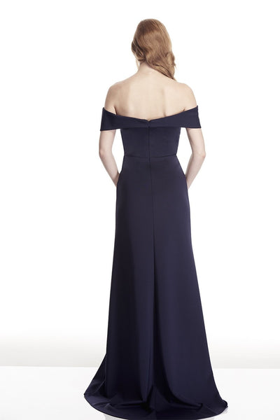 Tinaholy Couture T17115 Navy Off Shoulder Formal Gown Dress