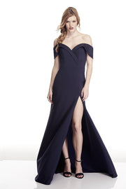 Tinaholy Couture T17115 Navy Off Shoulder Formal Gown Dress Tina Holly Couture$ AfterPay Humm ZipPay LayBuy Sezzle