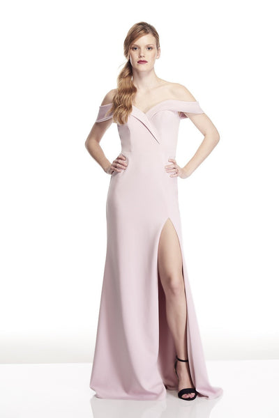 Tinaholy Couture T17115 Tea Rose Pink Off Shoulder Formal Gown Dress