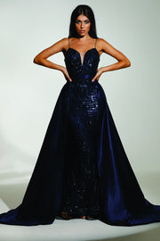 Tinaholy Couture T17128 Navy Blue Sequin Mermaid Skirt Formal Gown Prom Dress Tina Holly Couture$ AfterPay Humm ZipPay LayBuy Sezzle