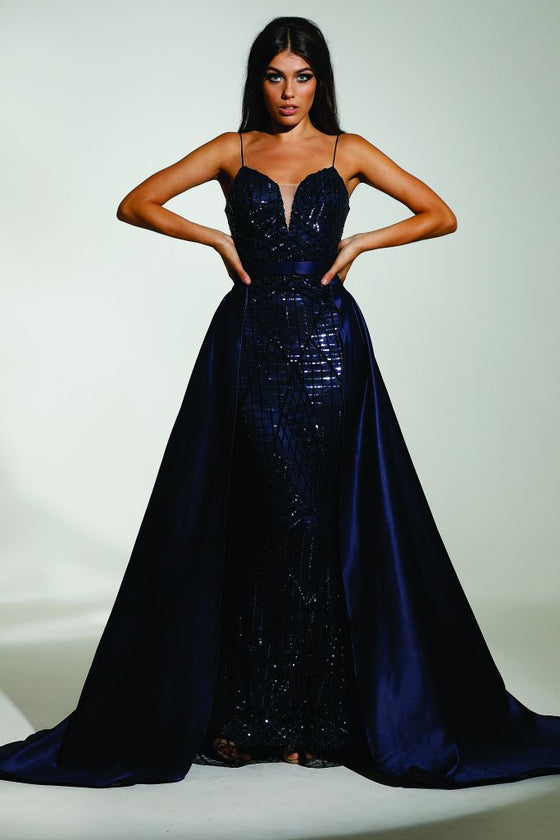 Tinaholy Couture T17128 Navy Blue Sequin Mermaid Skirt Formal Gown Prom DressTina Holly CoutureOne Honey Boutique AfterPay OxiPay ZipPay