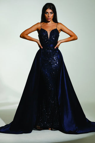 Tinaholy Couture T17128 Navy Blue Sequin Mermaid Skirt Formal Gown Prom Dress