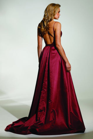 Tinaholy Couture T17128 Wine Red Sequin Mermaid Skirt Formal Gown Prom Dress