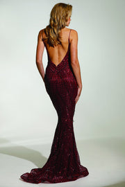 Tinaholy Couture T17128 Wine Red Sequin Mermaid Skirt Formal Gown Prom Dress Tina Holly Couture$ AfterPay Humm ZipPay LayBuy Sezzle