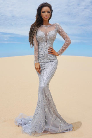 Tinaholy Couture P17130 Silver Beaded Mesh Sleeve Formal Gown Prom Dress