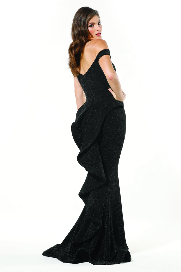 Tinaholy Couture T18117 Black Jersey Off Shoulder Formal Gown Tina Holly Couture$ AfterPay Humm ZipPay LayBuy Sezzle