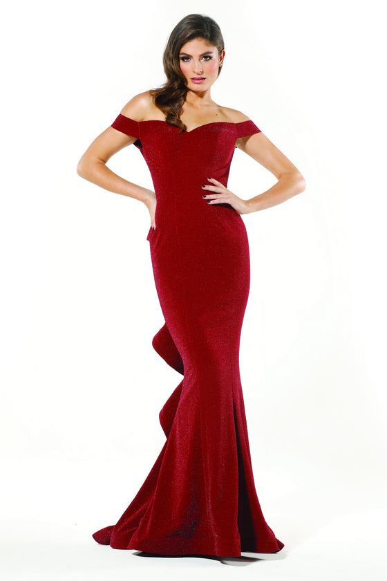 27a4962ef9a Tinaholy Couture T18117 Burgundy Jersey Off Shoulder Formal Gown