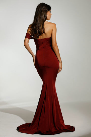 Tinaholy Couture T1832 Wine One Shoulder Mermaid Formal Gown DressTinaholy CoutureOne Honey Boutique AfterPay OxiPay ZipPay