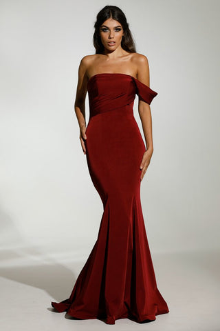Tinaholy Couture T1832 Wine One Shoulder Mermaid Formal Gown Dress