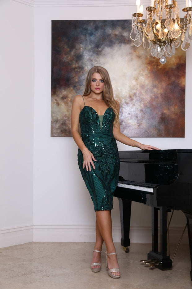 Tinaholy Couture T18326 Emerald Green Lace Midi Cocktail Dress Tina Holly Couture$ AfterPay Humm ZipPay LayBuy Sezzle
