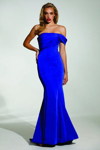 Tinaholy Couture T1832 Blue One Shoulder Mermaid Formal Gown Dress