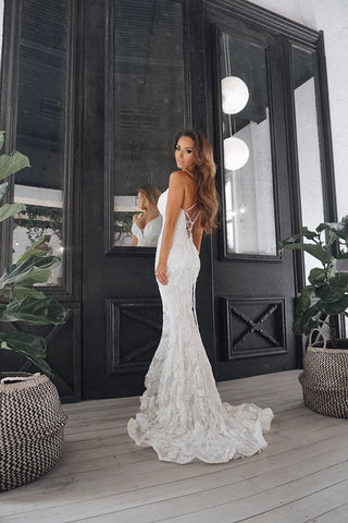 Tinaholy Couture T1834 White Sequin Mermaid Formal Prom Gown Dress Tinaholy Couture One Honey Boutique AfterPay ZipPay OxiPay Sezzle Free Shipping