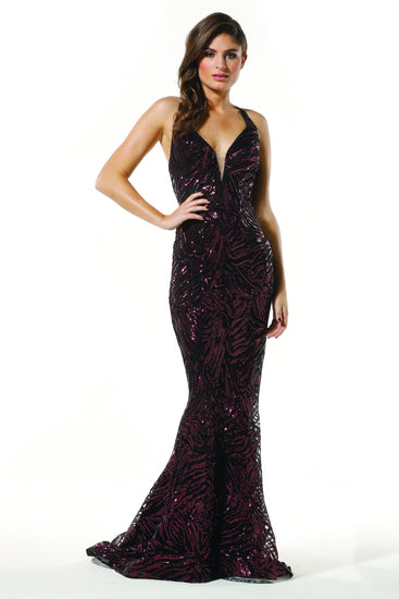 Tinaholy Couture T1836 Berry Sequin Mermaid Formal Prom Gown Dress