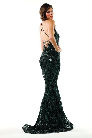 Tinaholy Couture T1836 Green & Black Sequin Mermaid Formal Prom Gown Dress