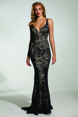 Tinaholy Couture T1836 Navy & Nude Sequin Mermaid Formal Prom Gown Dress