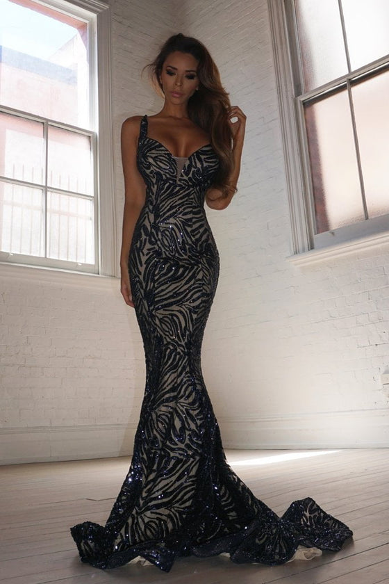 Tinaholy Couture T1836 Navy & Nude Sequin Mermaid Formal Prom Gown DressTinaholy CoutureOne Honey Boutique AfterPay OxiPay ZipPay