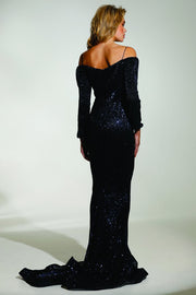 Tinaholy Couture T1842 Navy Blue Beaded Sequin Mermaid Train Formal Gown Prom Dress Tina Holly Couture$ AfterPay Humm ZipPay LayBuy Sezzle