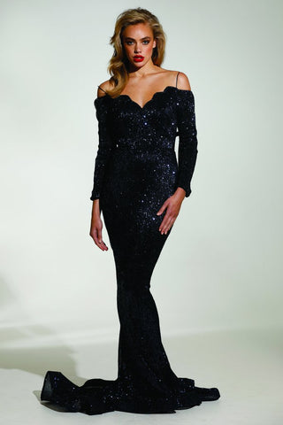 Tinaholy Couture T1842 Navy Blue Beaded Sequin Mermaid Train Formal Gown Prom Dress Tinaholy Couture One Honey Boutique AfterPay ZipPay OxiPay Laybuy Sezzle Free Shipping