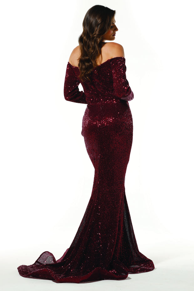 Tinaholy Couture T1842 Wine Beaded Sequin Mermaid Train Formal Gown Prom Dress Tina Holly Couture$ AfterPay Humm ZipPay LayBuy Sezzle