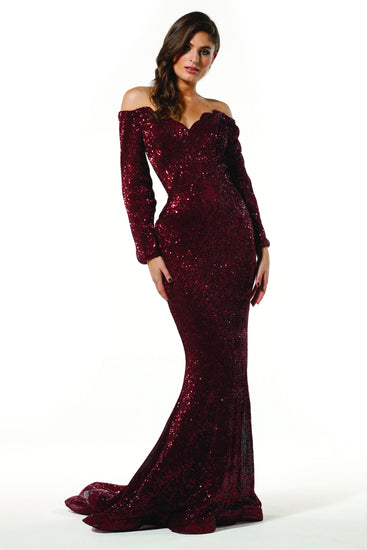 Tinaholy Couture T1842 Wine Beaded Sequin Mermaid Train Formal Gown Prom Dress