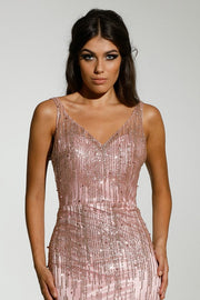 Tinaholy Couture T1843 Rose Pink Low Back Glitter Mermaid Formal Dress Tina Holly Couture$ AfterPay Humm ZipPay LayBuy Sezzle