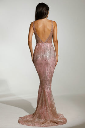 Tinaholy Couture T1843 Rose Pink Low Back Glitter Mermaid Formal DressTinaholy CoutureOne Honey Boutique AfterPay OxiPay ZipPay