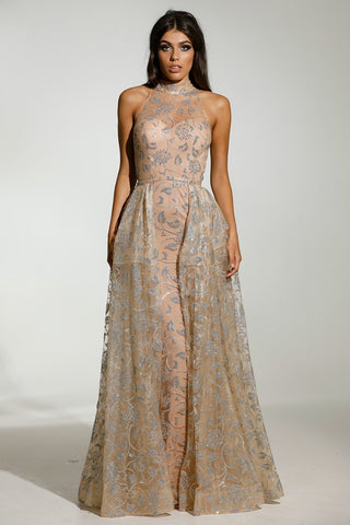 Tinaholy Couture T1845 Silver & Nude Glitter Formal Gown Prom Dress