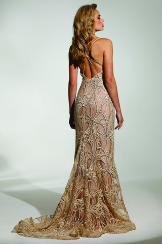 Tinaholy Couture T1846 Gold Lace Mermaid Formal Gown Prom Dress