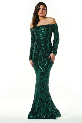 Tinaholy Couture T1866 Emerald Green Sequin Off Shoulder Formal Gown Prom Dress