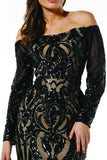 Tinaholy Couture T1866 Black & Nude Sequin Off Shoulder Formal Gown Prom Dress