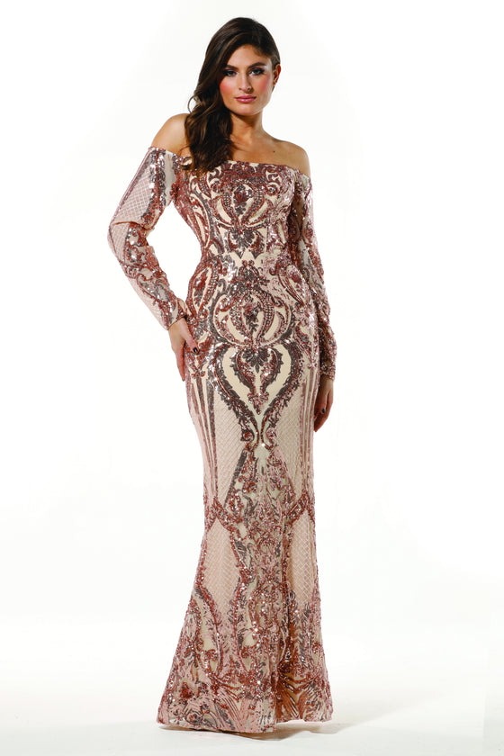 Tinaholy Couture T1866 Gold Sequin Off Shoulder Formal Gown Prom Dress