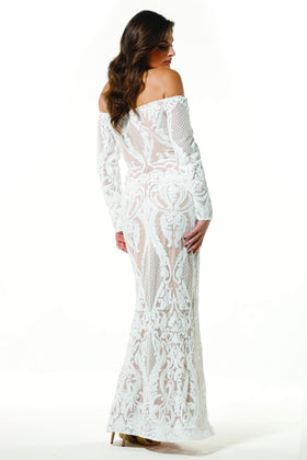 Tinaholy Couture T1866 White & Nude Off Shoulder Formal Gown Prom Dress