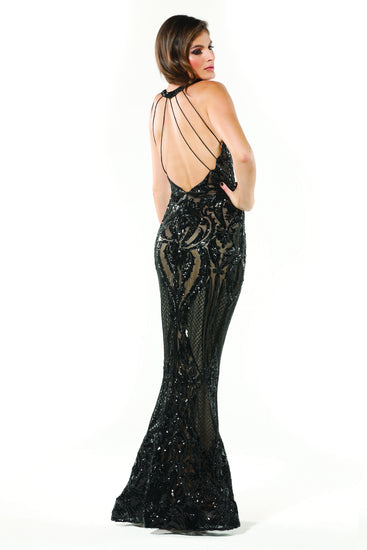 Tinaholy Couture T1868 Black & Nude Sequin Formal Gown Dress