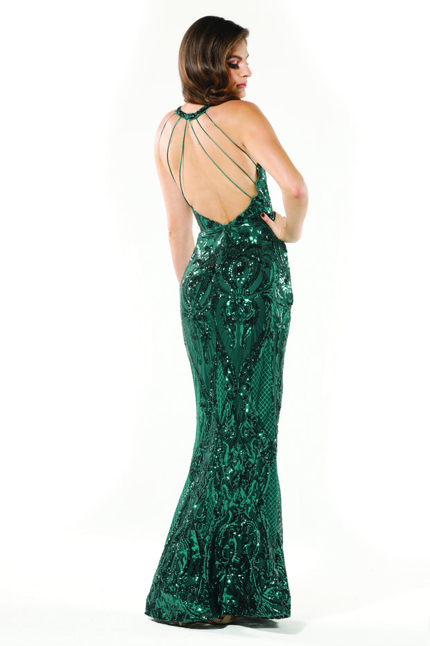 Tinaholy Couture T1868 Emerald Green Sequin Formal Gown Dress Tina Holly Couture$ AfterPay Humm ZipPay LayBuy Sezzle