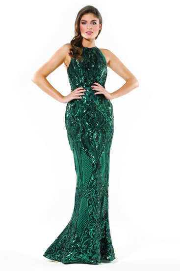 Tinaholy Couture T1868 Emerald Green Sequin Formal Gown Dress