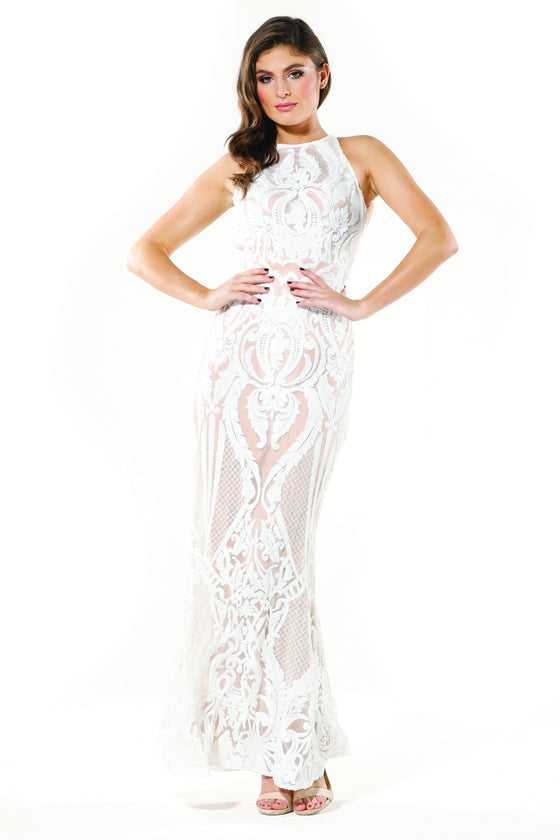 Tinaholy Couture T1868 White & Nude Sequin Formal Gown Dress